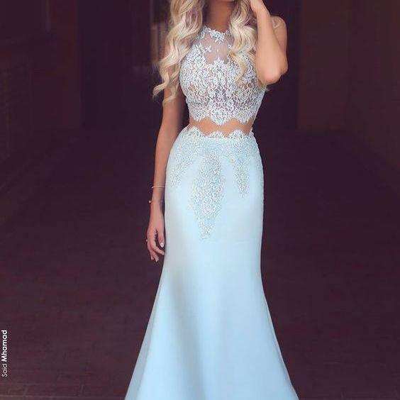Light Blue Prom Dresses, Satin Prom Dress, white Lace See-through Evening Dress, Mermaid Prom Dresses, Round Neck Prom Dresses, Long Formal Dresses, Prom Dress