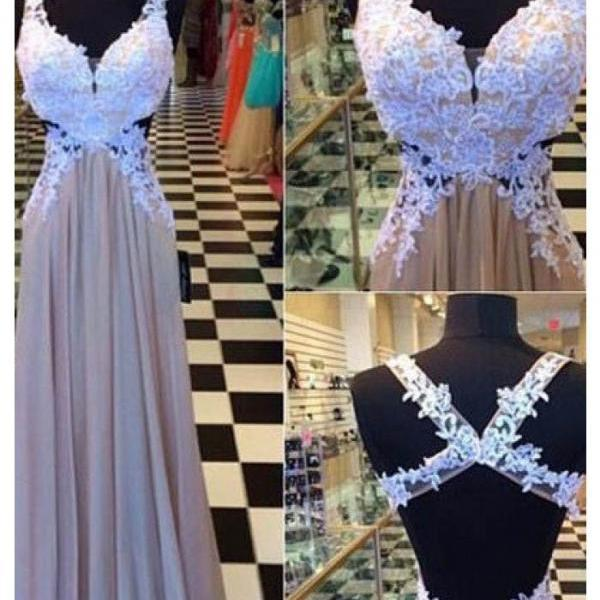 Applique Prom Dresses, Chiffon Prom Dress, A Line Prom Gown, Backless Evenin Dresses, Long Formal Dress, Prom Dress