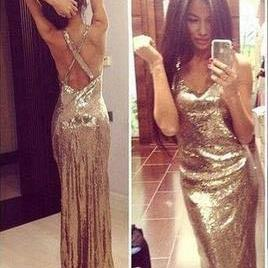 Sexy prom dresses,Gold sequin prom dresses, Charming prom dresses, prom dresses 2017, cheap prom dresses, Prom Dress