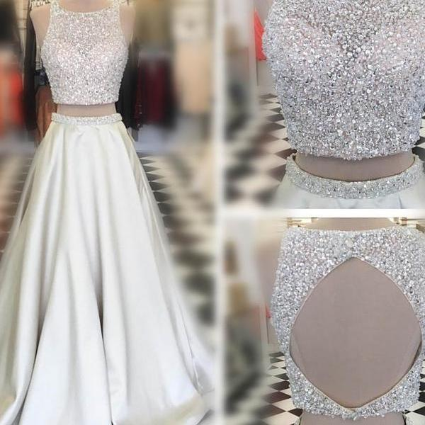 Two Pieces Prom Dress,White Evening Dress,Long Prom Dresses,Sexy Prom Gowns, Beading Party Dresses, A Line Formal Dress, Porm Dress