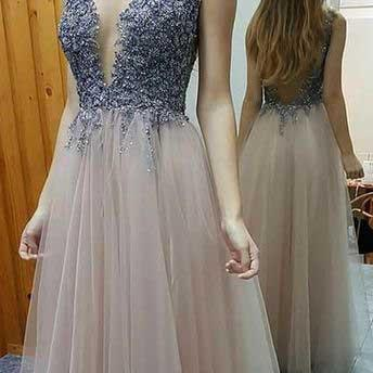 Long Prom Dress,Backless Prom Dresses, Sexy Prom Dresses,Tulle Evening Dress, A Line Prom Dress, Deep V Neck Prom Dress, Formal Party Gown,Prom Dress