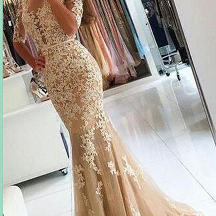 Charming Prom Dresses, Mermaid Appliques Prom Dress,Half Sleeves Prom Dresses,Sexy Lace Prom Dresses, Long Lace Evening Dress, Formal Women Dress, Prom Dress