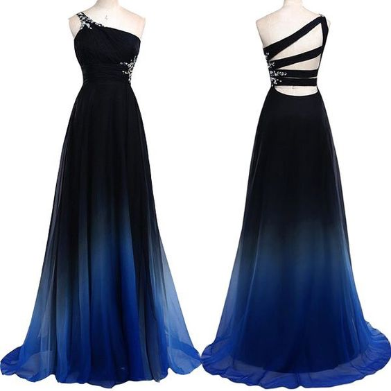 One Shoulder Navy Blue Royal Blue Ombre Prom Dresses ...